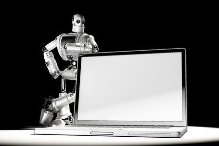 talking robot: Robot with blank screen laptop.