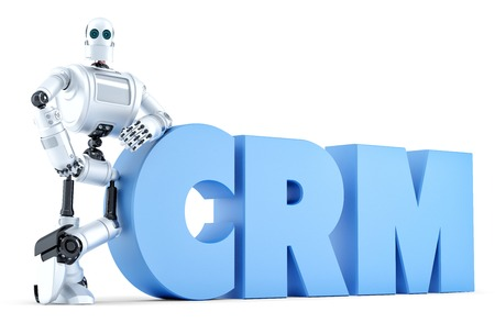 interactions: Robot with CRM sign. Business Technology concept. Isolated over white.