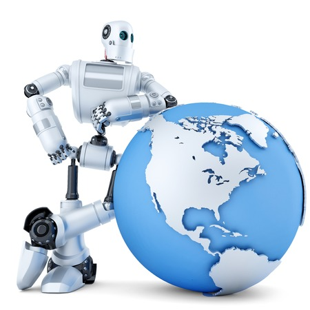 3D robot standing with globe. Technology concept. Isolated over white.  Stock Photo