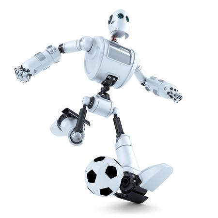 3D Robot jugando fútbol. Aislado en blanco. Foto de archivo