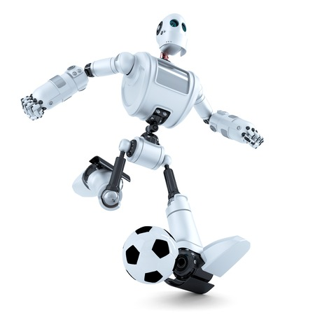chrome man: 3D Robot playing football. Isolated over white.