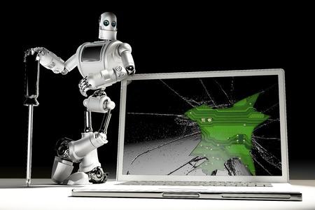 laptop repair: Technician with broken laptop. Technology concept.