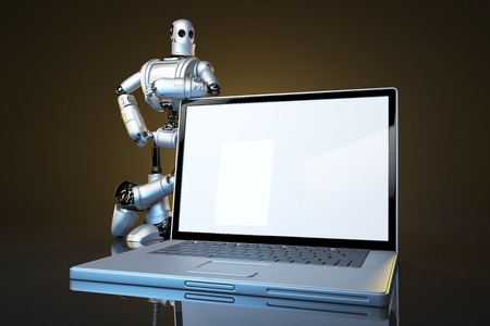 laptop screen: Robot with blank screen laptop. Technology concept.