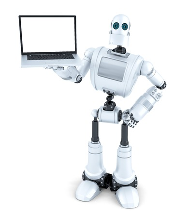 laptop isolated: Robot holding blank screen laptop. Isolated.