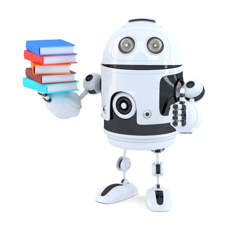 books isolated: Robot with books. Isolated on white.