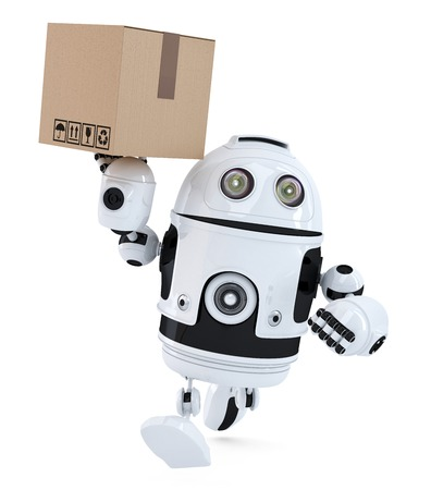 robot: Robot en un paquete de prisa que entrega. Aislado en blanco.