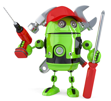 Green robot with tools. Technology concept. Isolated over white.