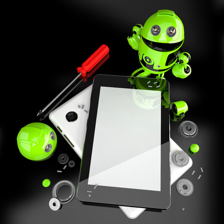 computer repairing: Robot repairing tablet computer. Technology concept