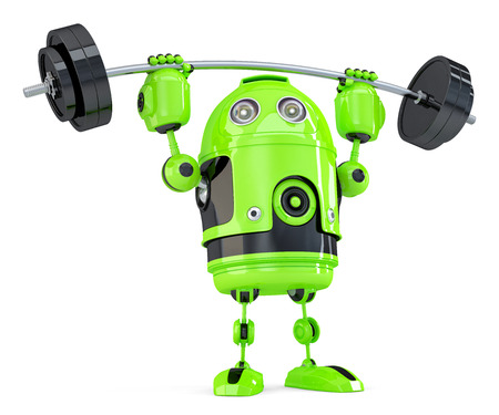 powerfull: Powerfull Green Robot. Technology concept. Isolated on white.
