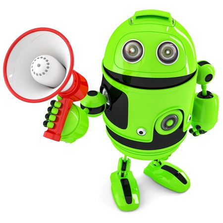talking robot: Green robot shouting into bullhorn. Isolated over white.