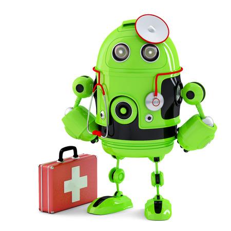 robot: Verde Medic Robot. Concepto de la tecnolog�a. Aislado en blanco.