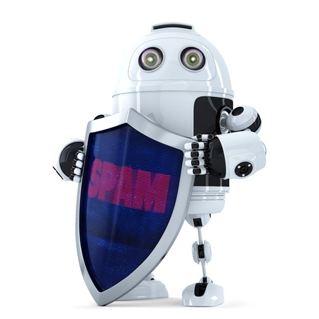 robot with shield: Robot with the shield. Spam protection concept. Isolated over white.  Stock Photo