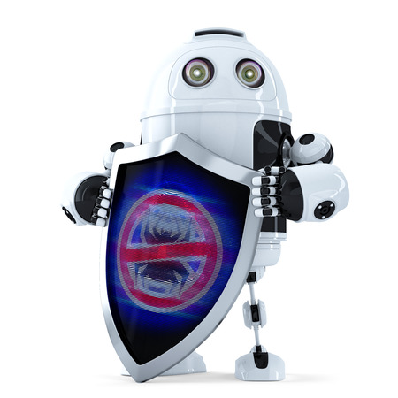 robot with shield: Robot with shield. Virus protection concept. Isolated over white.