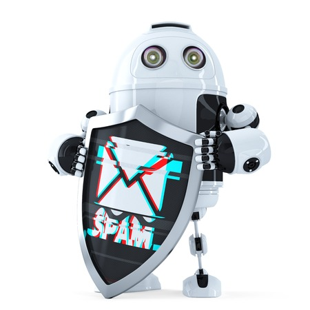 web robot: Robot with shield. Spam protection concept. Isolated over white. Stock Photo