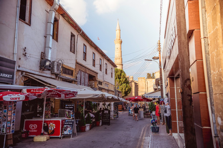 selimiye mosque: NICOSIA, CYPRUS - AUGUST 10: Arasta street, a touristic street leading to an Selimiye mosque. Color toned image.