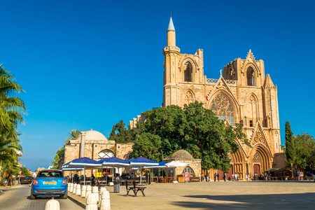 st  nicholas cathedral: FAMAGUSTA, CYPRUS - OCTOBER 10, 2015: St. Nicholas Cathedral formerly St. Nicholas Cathedral at Mahmut Celaleddin square on OCTOBER 10 in Famagusta. Editorial