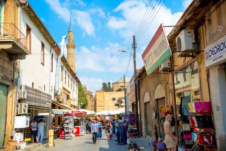 street market: NICOSIA, CYPRUS - SEPTEMBER 19: Arasta street, a touristic street leading to an Selimiye mosque.