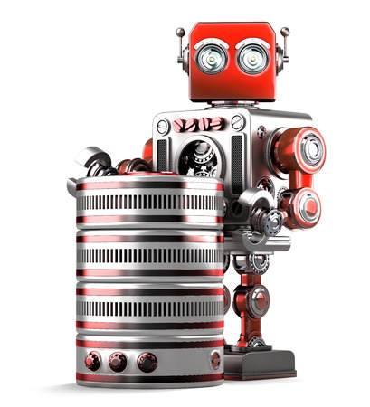 hdd: Retro Robot with database. Technology concept. Isolated over white. Contains clipping path