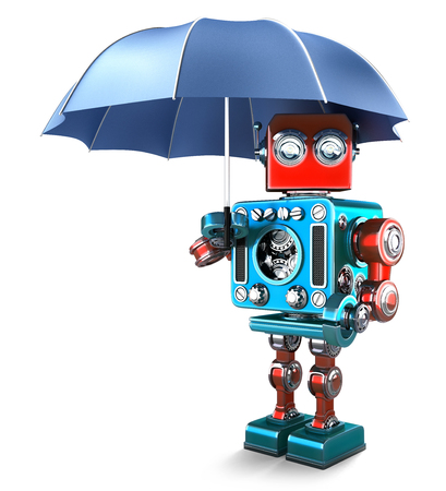 security technology: Vintage Robot with umbrella. Isolated over white. Contains clipping path