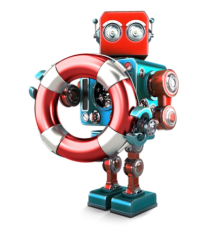 Robot with lifebuoy. Technology concept. Isolated over white. Contains clipping path