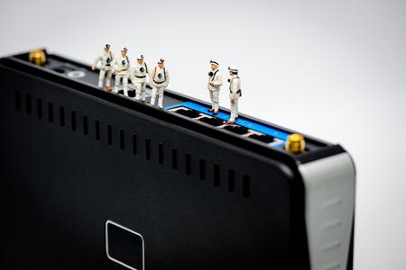 tiny: Miniature network engineers at work. Macro Photo