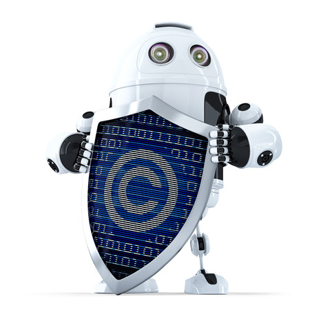 copyright symbol: Robot with shield and copyright symbol on it. Isolated over white. Contains clipping path