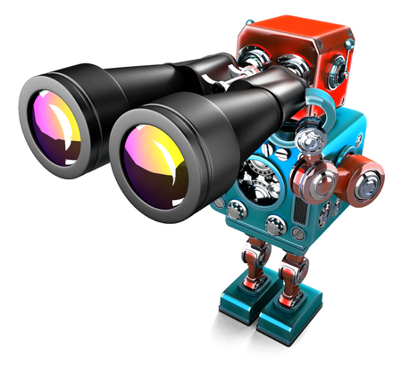 advisor: Vintage Robot with binoculars. Isolated over white. Contains clipping path