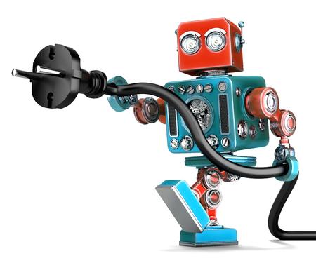 enchufe: retro robot con enchufe eléctrico. Aislado en blanco. Contiene trazado de recorte