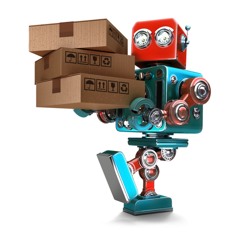 courier: Delivery courier Robot delivering package. Isolated over white. Contains clipping path Stock Photo