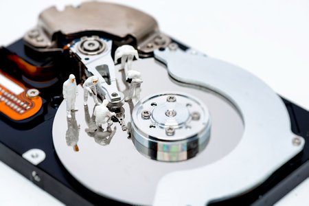 hard drive crash: Hard disk drive repair and information recovery concept. Macro photo