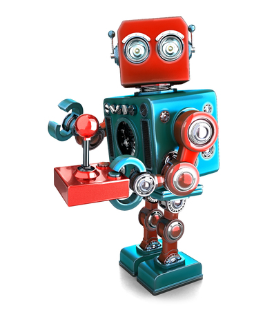 joypad: Retro Robot with a joystick. Isolated over white. Contains clipping path Stock Photo