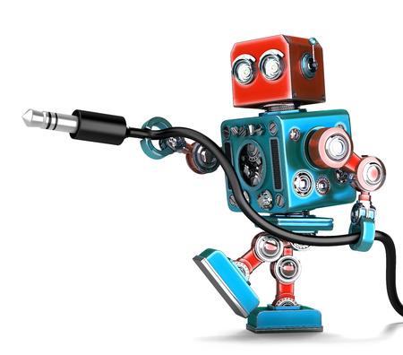 스테레오 오디오 잭이있는 레트로 로봇. 화이트 이상 격리. 클리핑 경로 포함