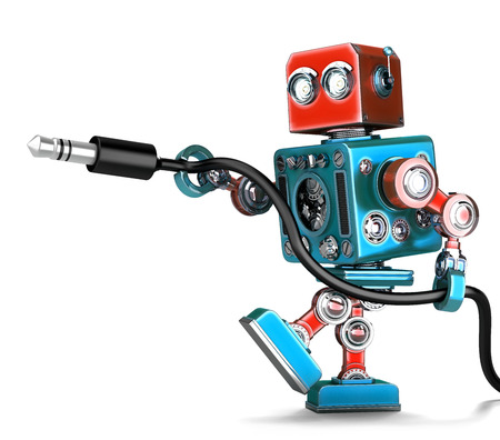 jackplug: Retro Robot with stereo audio jack. Isolated over white. Contains clipping path