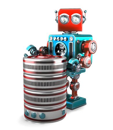 retro robot: 3D Retro Robot with database. Technology concept. Isolated over white. Contains clipping path
