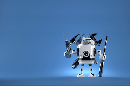 space robot: Robot worker. 3D illustration. Contains clipping path Stock Photo