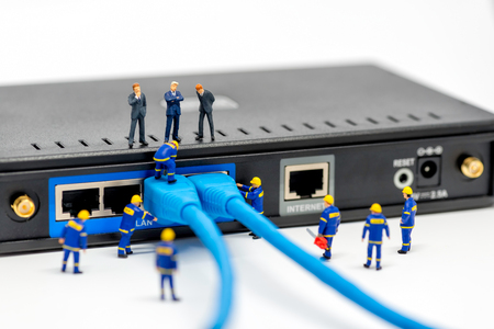 modem: Internet technology and networking concept. Macro photo Stock Photo
