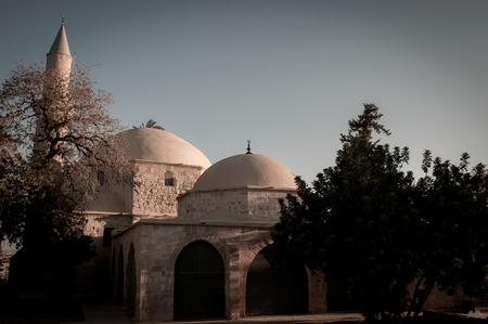 umm: Hala Sultan Tekke or Mosque of Umm Haram. Larnaca, Cyprus Stock Photo