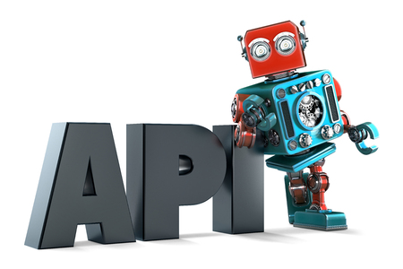 retro robot: Retro Robot with application programming interface sign. Technology concept. Isolated on white background. Contains clipping path Stock Photo