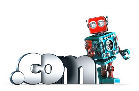 dot com: Retro robot with dot COM domain sign. Isolated. Contains clipping path Stock Photo