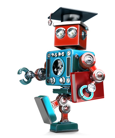grad: Graduating Robot in grad hat with book. Isolated over white. Contains clipping path