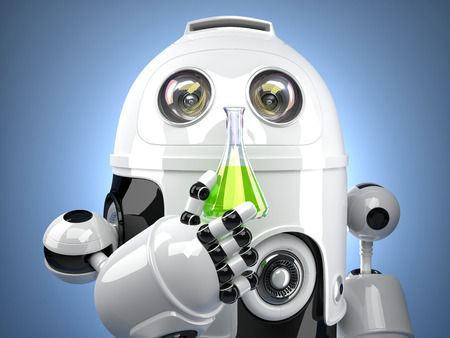 test glass: 3D Robot with test glass flask Stock Photo