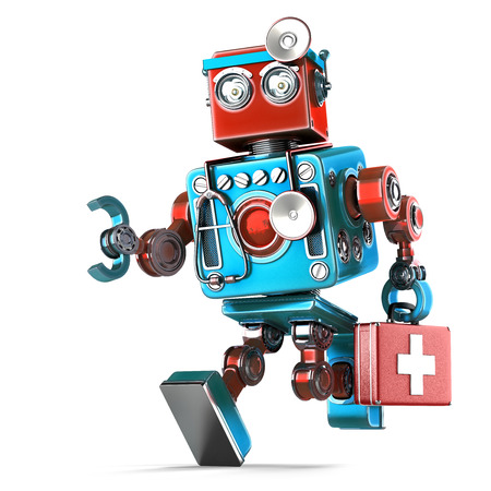 medics: Running Robot Doctor with stethoscope. Isolated over white. Contains clipping path