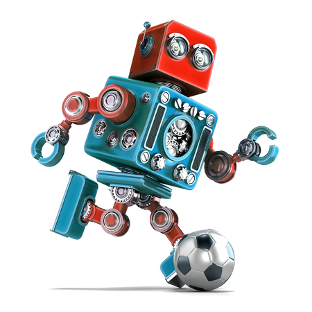 robot: Retro robot playing soccer. Isolated over white. Contains clipping path.