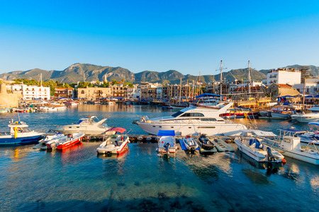 Kyrenia Girne harbor with castle on the background. Cyprus.