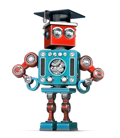 cybernetics: Graduation Retro Robot. Isolated over white. Contains clipping path Stock Photo