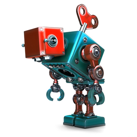 exploitation: Wind-up overworked Robot with key sticking into his back. Isolated over white. Contains clipping path Stock Photo