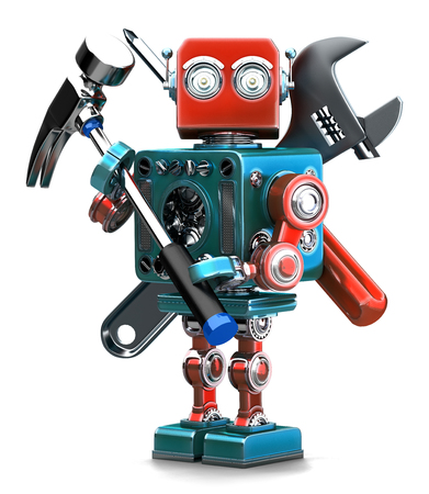 installer: Vintage Robot with instruments. Isolated over white. Containsc lipping path Stock Photo