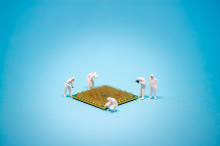 Technician analysis CPU microprocessor. Technology concept