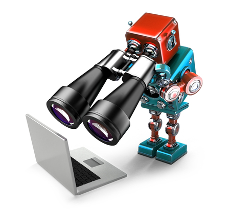 searching: Robot holding binoculars and looking at laptop. Searching concept. Isolated over white. Contains clipping path