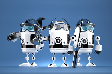 technical support: Group of robot mechanics. Technology concept. Contains clipping path.